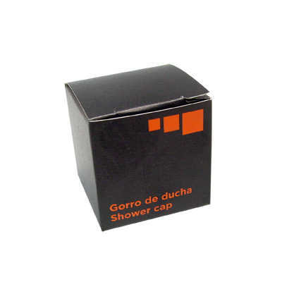 SHOWER CAP STD PE ORANGE BLACK